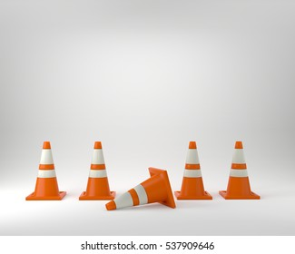 under construction orange traffic cones 3D illustration