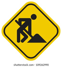under construction road sign with man