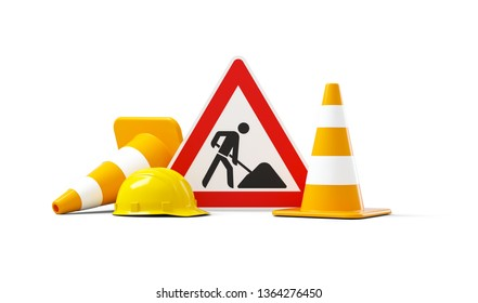 Under construction, road sign, traffic cones and safety helmet, isolated on white background. 3d illustration, 3d rendering