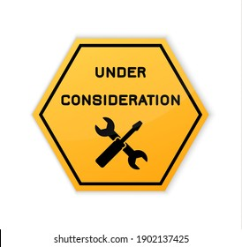 Under construction sign. Construct under banner. Signage danger. Warning caution. Board attract attention. Hammer, spanner. Yellow triangle frame on white background. Reconstruction sign. Illustration