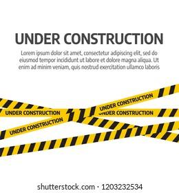 Under construction website page. Under construction tape warning banner