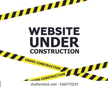 Under construction website page. Warning tape banner