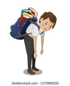 Under pressure school child carrying heavy school bag on white background