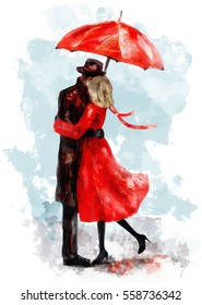 romanticcouple under an red umbrella. Kiss. Watercolor lovely illustration for valentine's day. Young Man and woman in dress and shoes. Smooch. background with splash paint. Love