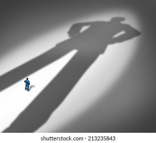 Under a shadow business metaphor for living under a powerful leader or small business competing against giants as a businessman facing a huge darkness shaped as a giant man.