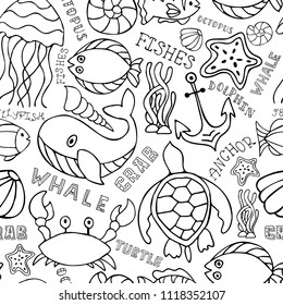 Under water ocean fauna seamless doodle funny background with hand drawn lettering. Marine sea animals life pattern. Marine inhabitants: whale, crab, turtle, fish, starfish, jellyfish.Underwater fauna