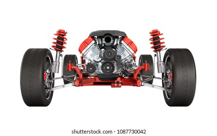 Undercarriage in detail Suspension of the car with wheel and engine isolated on white background 3d without shadow