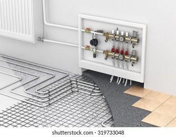 Underfloor heating with collector and radiator in the room. Concept of technology heating. The order of layers in the floor.