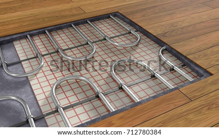 Underfloor Heating System Under Wooden Floor Stock Illustration