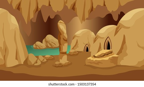 Underground cave landscape. Background for mysterious fantasy game asset or cartoon. Underground realm of gnomes or dwarves. Rock houses, lake, stones.