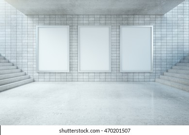 Underground hall interior with three blank banners on tile wall and stairs. Mock up, 3D Rendering