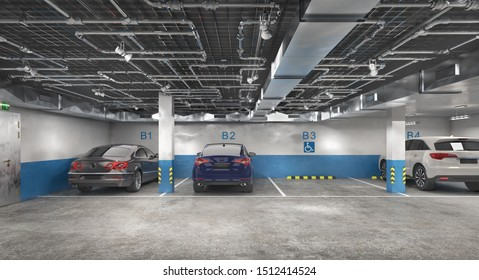 Underground parking with cars, 3d illustration