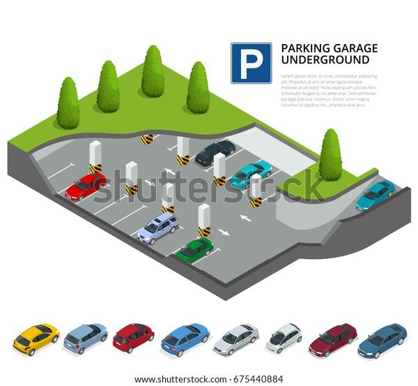 Met Parking Services >> Underground Parking Cars Indoor Car Park Stock Illustration
