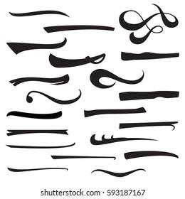 Underline Marker. Set Of Hand Lettering Underlines Lines Isolated On White Background. Pen Design. Raster Illustration