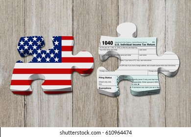 Understanding how to do your taxes, Two puzzle pieces with the flag of the USA and a US Federal tax 1040 income tax form on weathered wood 3D Illustration