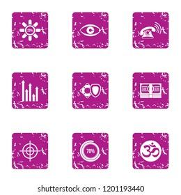 Undertaking icons set. Grunge set of 9 undertaking icons for web isolated on white background