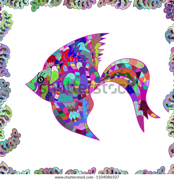 Underwater abstract background, tropical sea fish seamless pattern with exotic fish on white, blue and green colors. Colorful summer design.