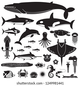 Underwater animals and sea creatures icons. Ocean and marine fishes and other aquatic life silhouette collection. Illustration of blue whale, devilfish, dolphin, orca, octopus, mollusks.