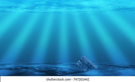 Underwater background with sea bottom, sun rays and treasure chest