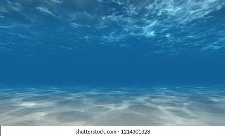 Underwater Caustics Sunbeams sea bottom 3d render