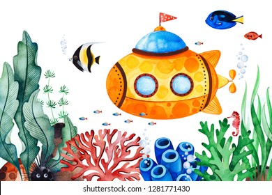 Underwater creatures pre-made greeting card with multicolored corals,seaweeds,fish,seahorse and yellow submarine.Perfect for invitation,Birthday,printable,craft project,baby shower,texture.