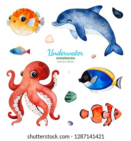 Underwater creatures. Watercolor collection with multicolored coral fishes.shells,dolphin,octopus and more!Perfect for invitations,party decorations,printable,craft project,greeting cards,blogs