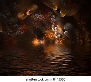 Underwater fantasy cavern