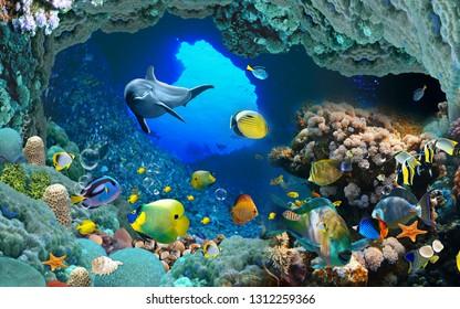 Underwater fish Aquarium illustration background