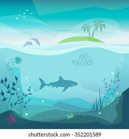 Underwater landscape of marine life - Island in the ocean and underwater world with different animals. Low polygon style flat illustrations. For web and mobile phone,print.