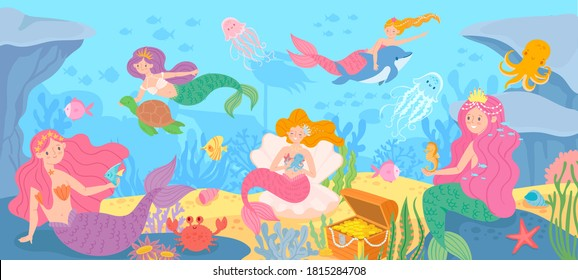 Underwater with mermaids. Seabed with mythical princesses and sea creatures, seaweeds and seashell, octopus, treasure cartoon  background. Beautiful fantasy fairy tale girls, marine life