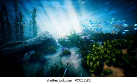 Underwater ocean waves ripple and tropical fish. 3D rendering