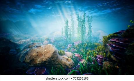 Onde oceaniche subacquee increspature e pesci tropicali. rendering 3D