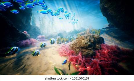 Underwater ocean waves and tropical fish 3D rendering