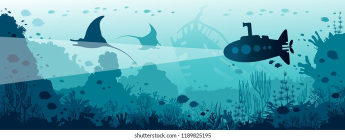 Underwater panoramic marine wildlife. Silhouette of submarine swimming near the mantas, coral reef and fishes. Natural vector illustration and underwater sea life.
