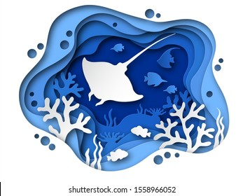 Underwater paper cut. Ocean bottom with sea animals, corals and fish ramp silhouettes. Tropical seabed paper layered cave background