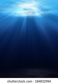 Underwater scene background with sunlight
