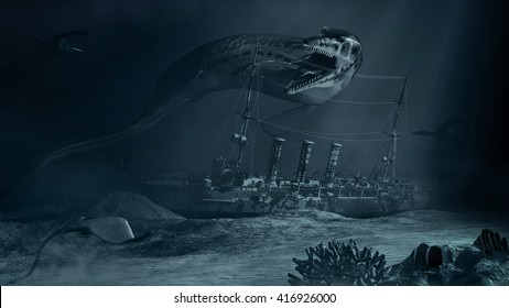 Underwater scene with prehistoric monster  and sunken ship