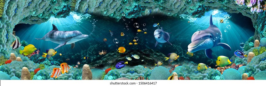 Underwater Scenery with Fish 3D wall tiles Wallpaper.