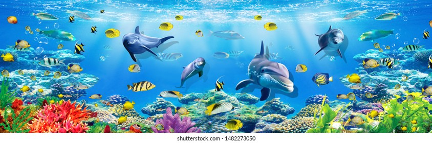Underwater Scenery with Fish 3D Wallpaper