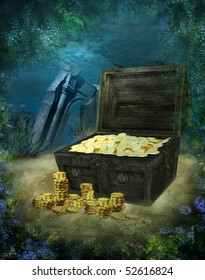 Underwater scenery with a pirate treasure