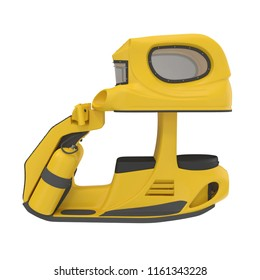 Underwater Scooter Diving Yellow Colour, 3D Illustrationisolated on white background