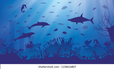 Underwater Sea or Ocean Background with Seaweed and Fish. Marine Reef Scene with Sharks.