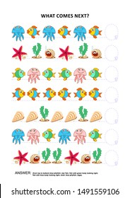 Underwater themed educational logic game training sequential pattern recognition skills: What comes next in the sequence? Answer included.