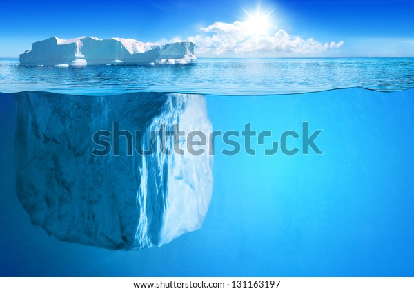 Underwater view of big iceberg with beautiful transparent sea on background - illustration.