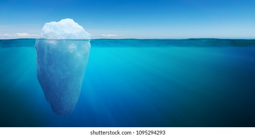 Underwater view on big iceberg floating in ocean. 3D rendered illustration.