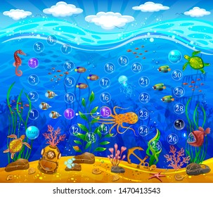 Underwater world. Board game field. Sea bottom, plants, inhabitants of the sea, anchor, underwater helmet. Waves and sky with clouds.