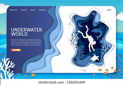 Underwater world landing page website template. paper cut tropical underwater sea cave with coral reef fish seaweed and scuba diver swimming with sea turtle and sharks.
