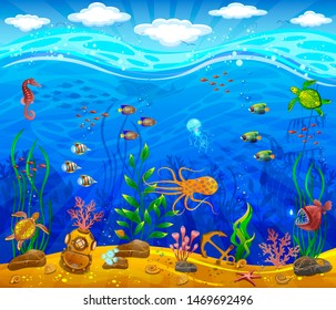 Underwater world. Sea bottom, plants, inhabitants of the sea, anchor, underwater helmet. Waves and sky with clouds.