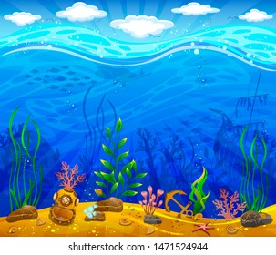 Underwater world. Sea bottom, plants, anchor, underwater helmet. Waves and sky with clouds.