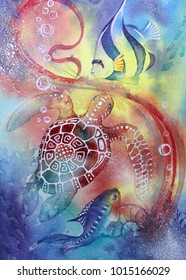 Underwater world.  Seahorse. illustration of a sea. seabed, crab, coral fish, Atlantis, coral reef. Watercolor painting.